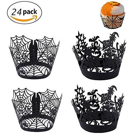 24 Pack Cupcake Wrappers,Dancepandas Cupcake encapsule Liner cuisson gâteau papier tasses plaques pour mariage décoration de fête anniversaire Halloween (12 Spiderweb+12 Sorcière)