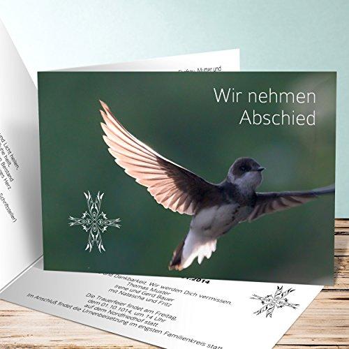 Einladungskarten Beerdigung, Spannweite 60 Karten, Horizontale Klappkarte 148x105 inkl. weiße Umschläge, Grün