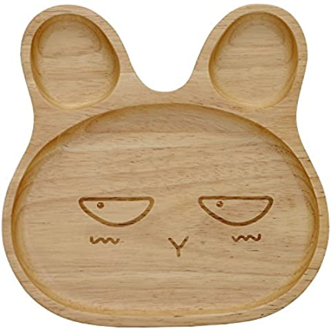 Geeklife® Cute Baby Rubber Wood Plate,Creative Rabbit Pattern Kid Dinner Dish,Safe and Eco-friendly (Peeved Look) by Geeklife