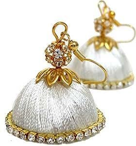 White Designed shine Silk Thread Earrings for Women (F1)