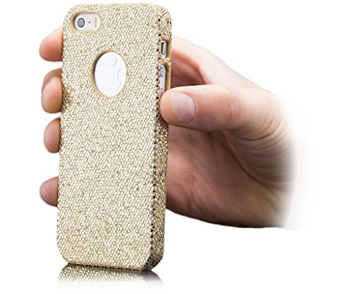 iCues Apple iPhone SE / 5S / 5 |  Glitzer Case Türkis | [Display Schutzfolie Inklusive] Strass Glitzer Glitter Luxus Bling Damen Frauen Mädchen Schutzhülle Hülle Cover Schutz Pink