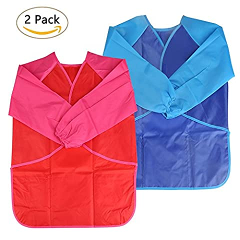 BELLESTYLE Children's Waterproof Play Apron?Long Sleeve Children's Art Smock for Painting, Baking,Cooking, Smock - Age 3-6 years-2 Pieces (Bleu, Rouge)