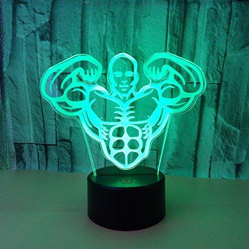 Touch Tischlampe Bodybuilding männlich 3d Nachtlicht Vision Stereo Licht bunt Muskelmann 3d