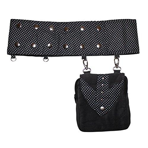 Freak Scene® Tasche ° Gürteltasche ° Amy ° Bauchtasche ° Hüfttasche ° Gürtelband mit abnehmbarer Tasche ° alle Farben!!! schwarz-weiß gepunktet