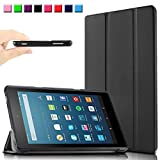 All New Fire HD 8 Case Cover, Infiland Ultra Slim Lightweight Tri-fold leather Standing Cover for All-New Fire HD 8 (6th Generation - 2016 release) Tablet (with Auto Sleep / Wake Feature)(Black)