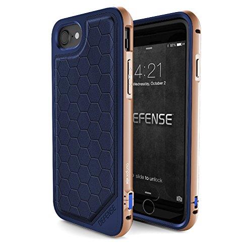iPhone 7 Case, X-Doria (Défense Lux) pour iPhone 7 , Dual Protection, Shock Absorbing, Premium de protection iPhone 7 Case(Noir) Bleu & Or