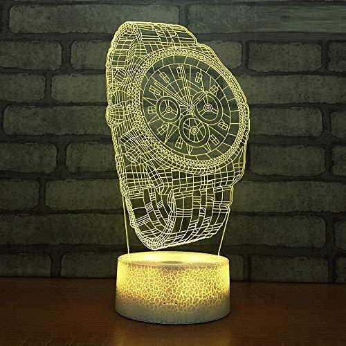 L2eD 3D Illusion Lampe Led Nachtlicht USB/Batteries Tischlampe 7 Farben Berührungsschalter Acryl & Abs Basis & Kind Geschenke Crack Base Luxusuhr
