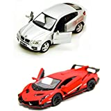 Playking Kinsmart Combo Of BMW X6 And Lamborghini Veneno Scale Model Car 5'' Die Cast Metal, Doors Openable And Pull Back Action Car (Color May Vary)