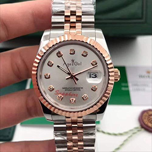 DMSGBZL Uhren Neue automatische mechanische Männer Edelstahl Saphir Rose Gold Diamond Watch 36mm Silber Gold Weiß D