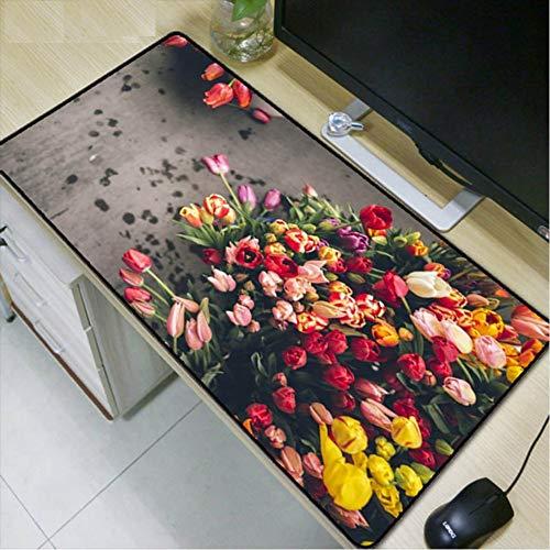 Lbonb Viele Tulpen Verschiedene Farben Große Mauspad Gaming Mousepad Rutschfeste Natürliche Gaming Mouse Mat Mit Schlosskante 70 * 30 Cm