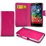 (Hot Pink) Motorola RAZR HD XT925 Super dünne Kunstleder Saugnapf Wallet Case Hülle mit Credit / Debit Card SlotsBy Spyrox