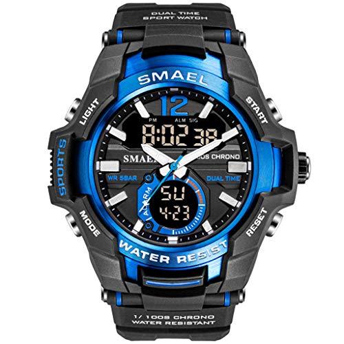 KYSZD-Uhren Intelligente Uhr Bluetooth Digital Outdoor Elektronische Sport 50 Mt Wasserdichte Edelstahl Harz Multifunktions Armband für Jungen Jugendliche Junior Männer Business Mode