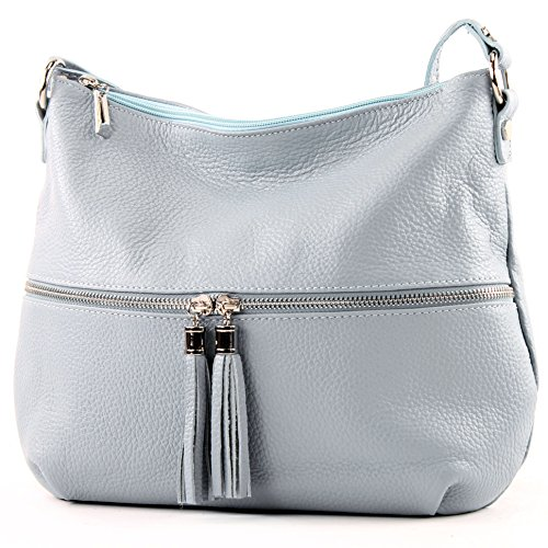 modamoda de - ital. Ledertasche Damentasche Umhängetasche Tasche Schultertasche Leder T159 Eisblau