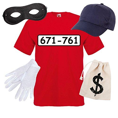 R Kostüm mit WUNSCHNUMMER-STANDARDNUMMER Herren und Kinder Gr. 104-5XL Verkleidung zum Karneval Fasching Outfit (Halloween-t-shirt-kostüme)