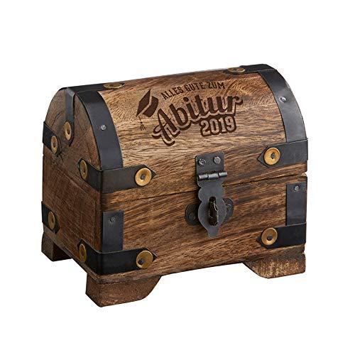 Schatztruhe mit Gravur - Zum Abitur 2019 - Aus dunklem Holz - Verpackung für Geldgeschenke - Schmuckkästchen - Aufbewahrungsbox aus Holz - Geschenkidee zum Abi ()