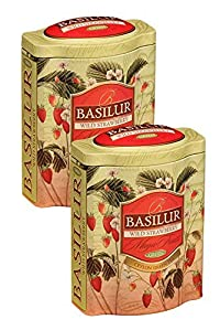 Basilur   Magic Fruits Collection   Wild Strawberry Tea   Ultra-Premium Green Tea   100% Pure Ceylon   Non GMO   100g / 3.5oz Tin Caddy   (Pack of 2)