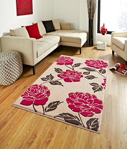 Florenz 91Neue Schöne Teppich Teppich Läufer 100% Polypropylen Floral Soft Anti allergischen, Polypropylen, Beige / Rot, 120x170cm (Florenz Beige-teppich)