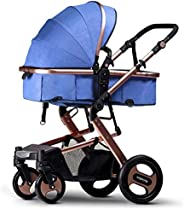 Foldable 2 In 1 Baby Stroller Newborn Carriage-Gold/Blue