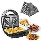 OZAVO 3 en 1 Sandwich Grill Gaufrier,Sandwitch Toaster 3 Plaques de Gril Amovibles...