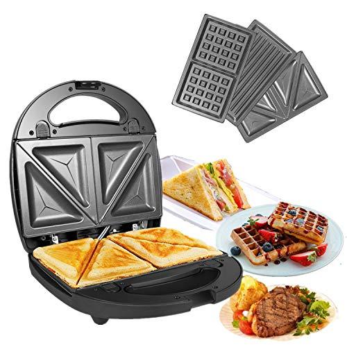 OZAVO 3 en 1 Sandwich Grill Gaufrier,Sandwitch Toaster 3 Plaques de Gril Amovibles Croque Gaufre Appareil à Croque-Monsieur Acier Inoxydable Pain Grillé Américain Viande avec Indicateur lumineux 750W