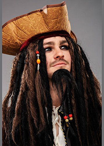 Magic Box Int. Herren Deluxe Jack Sparrow Perücke und Hut - Jack Piratenhut Sparrow
