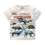 LuckyGirl Nfantile Bébé Enfants Garçons Filles T Shirts Imprimé Dinosaure Tops Casual Mignonne Top Mélange de Coton Tenues pour 18 Mios-6 Ans (Blanc, Âge:24 Mois)...