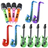 OULII Aufblasbare Gitarre Saxophon Mikrofon Musik Teil Prop aufblasbare Rock Star Toy Set 12pccs (zufällige Farbe)