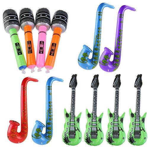 OULII Aufblasbare Gitarre Saxophon Mikrofon Musik Teil Prop aufblasbare Rock Star Toy Set 12pccs (zufällige Farbe) (Prop Mikrofon)