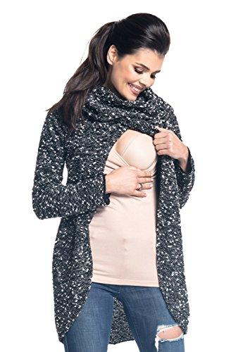 Zeta Ville - Maternité pull de grossesse allaitement cache-coeur - femme - 359c Noir & Blanc