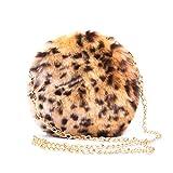 1f05f276d1 MForshop Borsetta Donna Pochette Borsa Hand Bag pelosa Pelliccia Ecologica  Tonda New s005 - Leopardato,