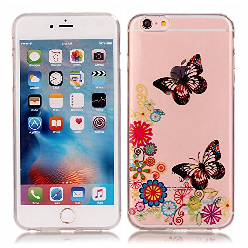 Meet de Soft TPU / Coque / Housse / Case / Protection pour Apple iPhone 6 Plus / iphone 6S Plus, Doux Silicone / Etui Housse / Bumper Case Dandelion pour Apple iPhone 6 Plus / iphone 6S Plus - d'amour papillon peint