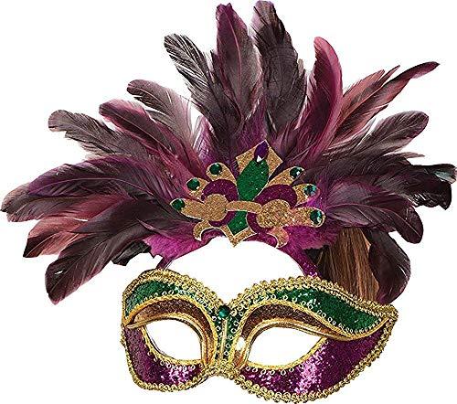 Only Sports Gear Damen Karneval Kostüm Zubehör Maskerade Kopfschmuck Federn Maske G/F - Lila/Grün/Hell Gold, One Size, One size