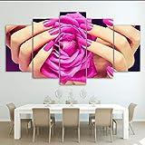 myvovo (Nessuna Cornice) Quadro Poster Poster Soggiorno Decorazioni per la casa 5 Pezzi Salone di Bellezza Pittura Unghie Sexy Woman Lip Manicure Immagini Modulari Wall Art