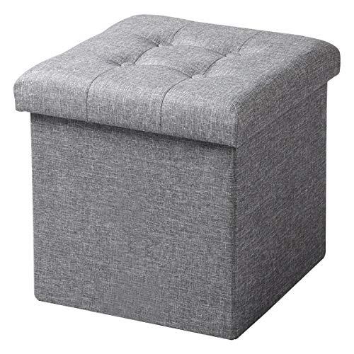 WOLTU Sitzhocker mit Stauraum Sitzwürfel Sitzbank Faltbar Truhen Aufbewahrungsbox, Deckel Abnehmbar, Gepolsterte Sitzfläche aus Leinen, 37,5x37,5x38CM(LxBxH), Hellgrau, SH06hgr-1