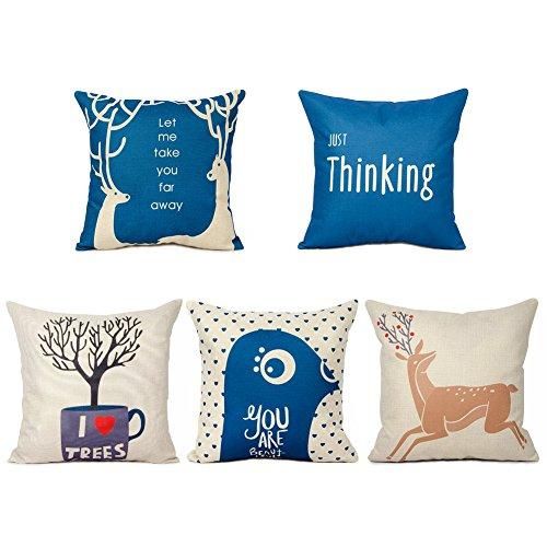 Top finel federe cuscini cervo in cotone lino morbidi quadrati decorativi in divano letto sedia 45x45 cm,serie 5 blu