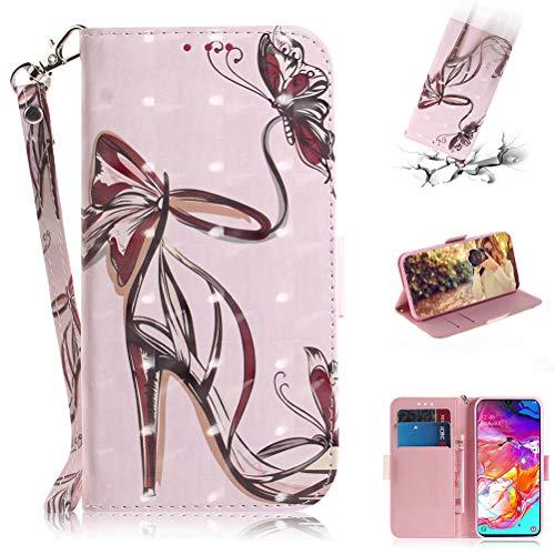 Jieheng Samsung Galaxy A70 Hülle,Premium 3D Bunte Muster PU Leder Schutzhülle Tasche Wallet Tasche Flip Etui Schale Mit Kartenfach Magnetverschluss Standfunktion Handyhülle für Samsung Galaxy A70 -
