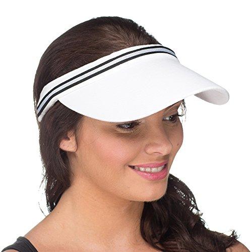 Visière Rayée Chic Légère Chapeau de Soleil Été Femme Blanc