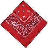 Bandana Halstuch Biker Nikki Tuch Schal Paisley Kopftuch 100% Baumwolle 25 Farben (Rot)