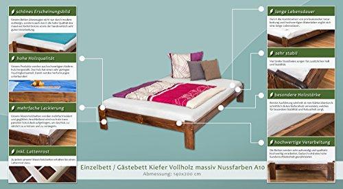 Massivholzbett / Gästebett Kiefer Vollholz massiv Nussfarben A10, inkl. Lattenrost - Abmessung 140 x 200 cm - 2
