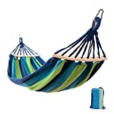 Easy Eagle Hamacs Anti-Rollover Travel Camping Canvas Hamac Outdoors Rainbow Stripes Swing Envoyer Tie Rope + Bag (78,74'x 39,37' Single Blue Stripes)