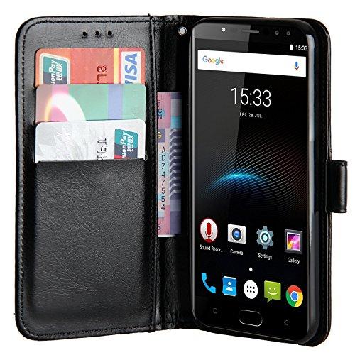 Raiphy Leder Brieftasche Hülle für Oukitel K3,Telefon schützender lederner Fall mit einem Einbauschlitz und Standfunktion (Schwarz)