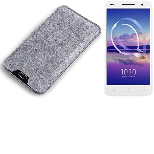 K-S-Trade Filz Schutz Hülle für Alcatel U5 HD Dual SIM Schutzhülle Filztasche Filz Tasche Case Sleeve Handyhülle Filzhülle grau