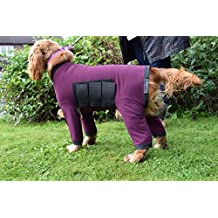 """Dog Onesie All in One Dog Cover Coat in Nylon Lycra - For Dirty Dogs, Shedding or After Surgery - Burgundy with Black Binding - Size - 2xExtra Large (26.5"""" Collar to Tail to fit dog 25"""" to 28"""")"""
