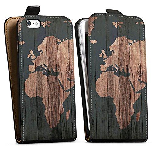 Apple iPhone 7 Hülle Case Handyhülle Weltkarte Holz Erde Downflip Tasche schwarz