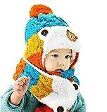 Awanna Unisex Strickmütze mit Schal 2 Stücke Set Haube Beanie Mütze für Baby Kinder(blau)