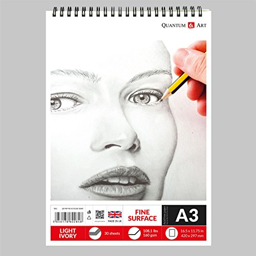 A3 Sketch Pad L Ivory Drawing 160 gsm Paper on Spiral Book - 30 sheets - 60 pages
