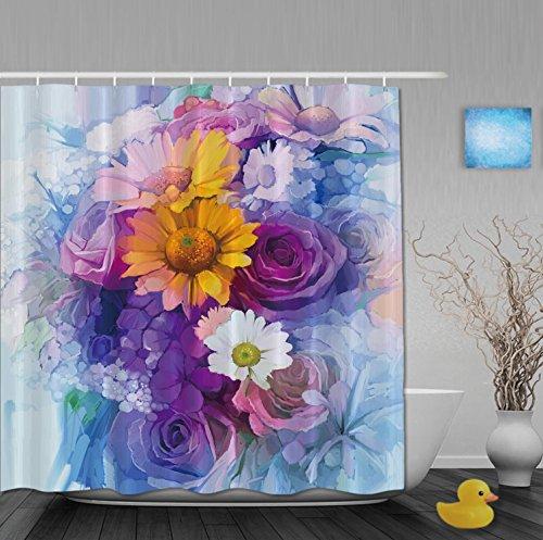 Dancing Dandelions Fiori Bagno Doccia tende per Home Decor muffa resistente all' usura tessuto in poliestere impermeabile colore: rosa brillante, Multi20, 72(length) X 66(width)