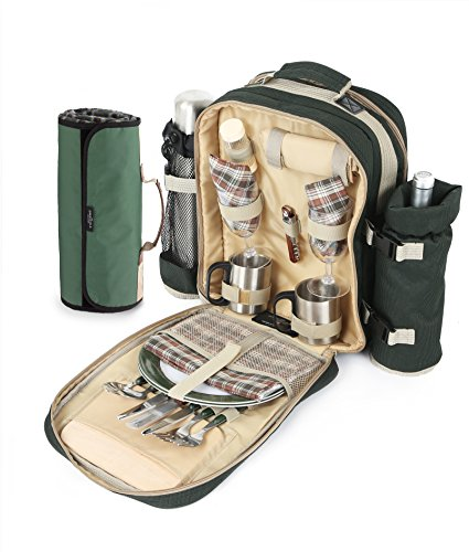 The Greenfield Collection BPSD2DGHPW Super Deluxe zwei Personen luxus Picknick Rucksack mit passender Picknickdecke, förstergrün