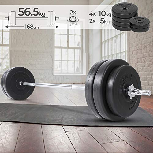 Physionics Barra de musculación de Pesas 56.5 kg - Barra Larga 168 cm con 6 Discos