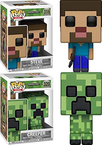Funko POP! Minecraft: Steve + Creeper – Stylized Video Game Vinyl Figure Set NEW